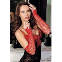 Митенки-перчатки эротическая сетка Anne De Ales Red