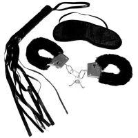 Набор для BDSM меховые наручники маска флоггер Sex and Mischief - Intro to S&M Kit Black