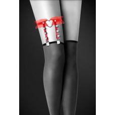 Подвязка для чулок-гартер Bijoux Pour Toi - WITH HEART AND SPIKES Red красная