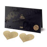Украшение пэстисы на соски в форме сердца Bijoux Indiscrets - Flash Heart Gold Золото