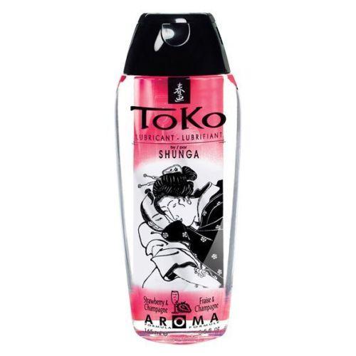 Лубрикант съедобный на водной основе вкус игристого клубничного вина Shunga Toko AROMA 165 мл