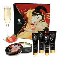 Подарочный набор для эротического массажа Клубника и Шампанское Shunga GEISHAS SECRETS - Sparkling Strawberry Wine