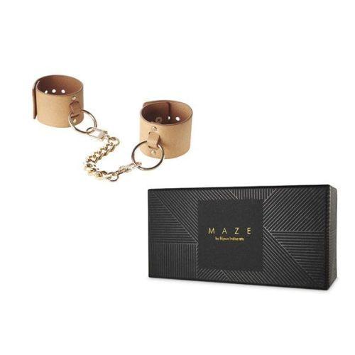 Наручники мягкие изысканные Bijoux Indiscrets MAZE - Wide Cuffs Brown Коричневые