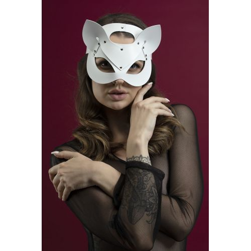 Маска кошки на глаза  Feral Feelings белая для БДСМ