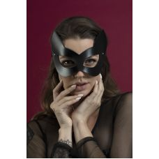 Маска кошки кожаная Feral Feelings черная для БДСМ