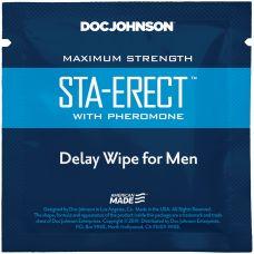 Пролонгирующая салфетка для пениса с феромонами Doc Johnson Sta-Erect Delay Wipe For Men