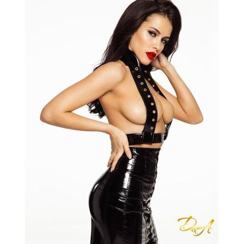 Портупея женская на шнуровке лаковая D&A с заклепками черная размер XS-S
