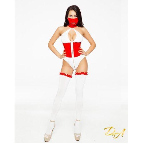 Эротический костюм медсестры D&A бело-красный размер M