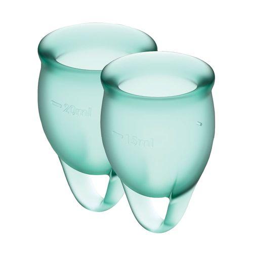 Чаша для менструации с мешочком для хранения зеленые Satisfyer Feel Confident 15мл и 20мл