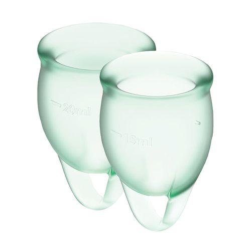 Гинекологическая чаша с мешочком для хранения салатовые Satisfyer Feel Confident 15мл и 20мл