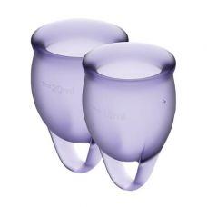 Менструальные чаши с мешочком для хранения фиолетовые Satisfyer (Сатисфаер) Feel Confident 15мл и 20мл