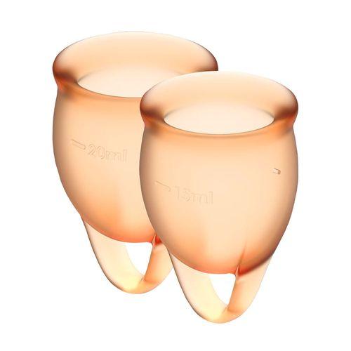 Чашка для менструации с мешочком для хранения оранжевые Satisfyer Feel Confident 15мл и 20мл