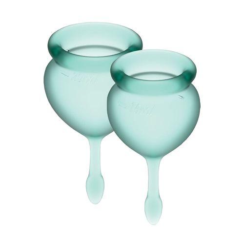 Вагинальная чаша с мешочком для хранения зеленые Satisfyer Feel Good 15мл и 20мл