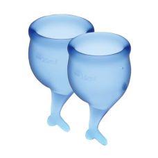 Женская чаша для критических дней с мешочком для хранения синие Satisfyer (Сатисфаер) Feel Secure 15мл и 20мл