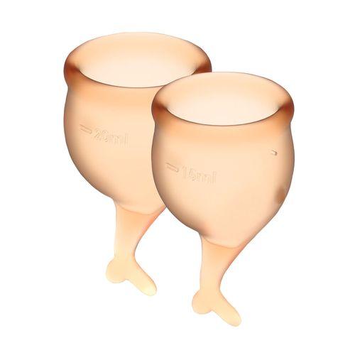 Чаша при месячных с мешочком для хранения оранжевые Satisfyer Feel Secure 15мл и 20мл