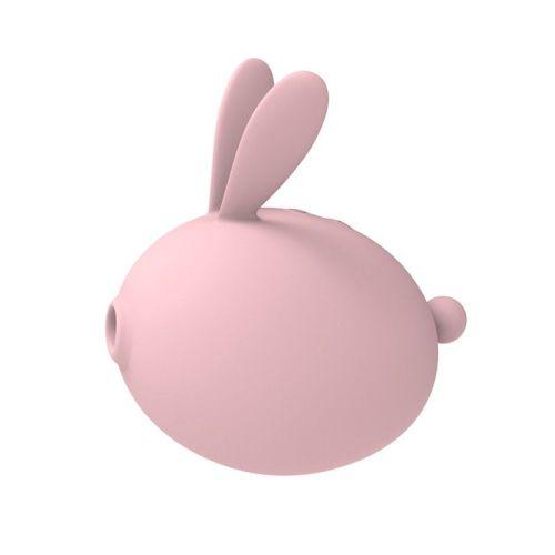 Вакуумный стимулятор клитора с вибрацией в виде зайчика розовый KissToy Miss KK