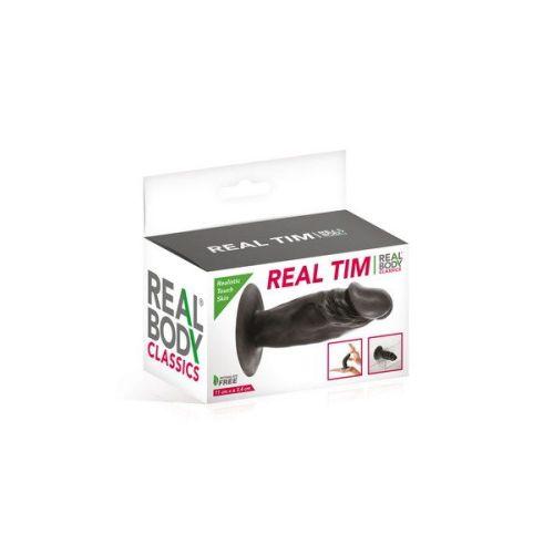 Фаллоимитатор на присоске Real Body Real Tim Black, TPE
