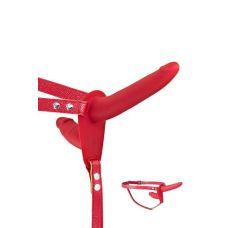 Двойной страпон красного цвета Fetish Tentation Strap-On