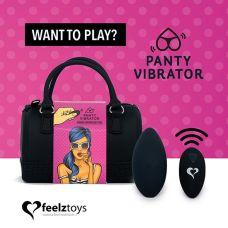 Вибратор в трусики с пультом ДУ черный с сумочкой чехлом FeelzToys Panty Vibrator