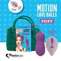 Вагинальные шарики с жемчужным массажем с пультом ДУ фиолетовые FeelzToys Motion Love Balls Foxy