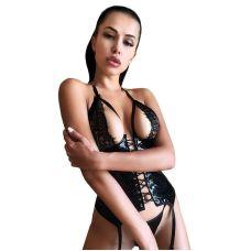 Виниловый сексуальный корсет с кружевом Сладкая Мэри XS-S