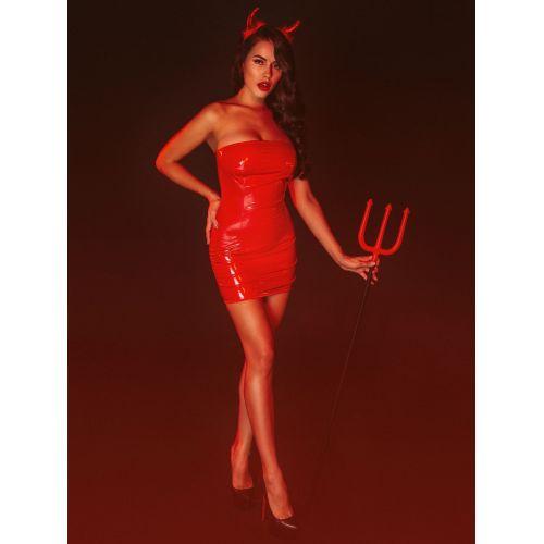 """Платье лакированное красное """"Соблазнительница Марго"""" M, молния на всю длину сзади"""