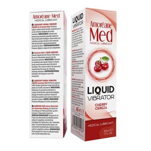 Лубрикант с эффектом вибрации Amoreane Med Liquid Vibrator Cherry 30 мл