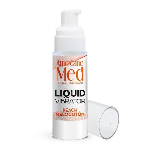 Лубрикант с эффектом вибрации на водной основе Amoreane Med Liquid Vibrator Peach 30 мл