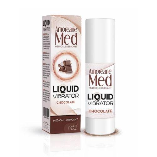 Лубрикант с эффектом вибрации на водной основе Amoreane Med Liquid Vibrator Chocolate 30 мл