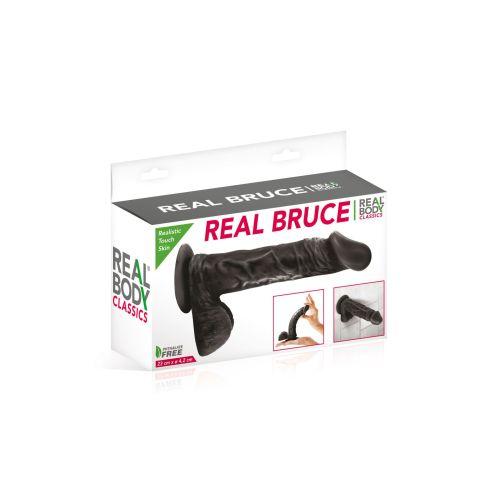 Фаллоимитатор на присоске Real Body - Real Bruce Black, TPE, диаметр 4,2см