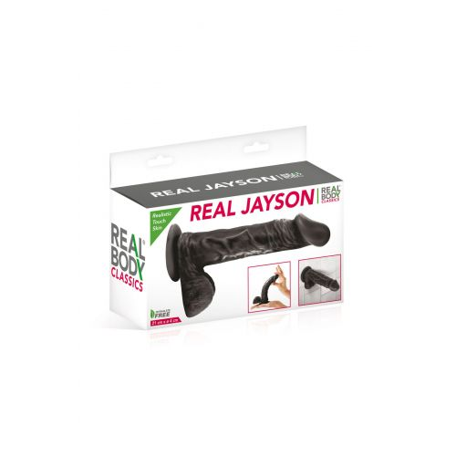 Фаллоимитатор на присоске Real Body - Real Jayson Black, TPE, диаметр 4см