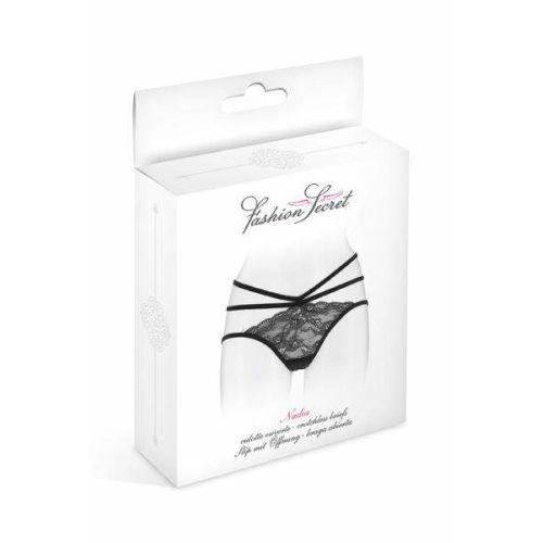 Трусики с открытой попкой чёрные Fashion Secret Nadia