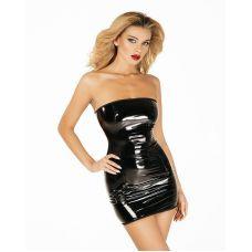 Платье лакированное черное Соблазнительница Марго L молния на всю длину сзади