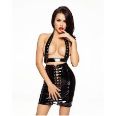 Лакированная чёрная юбка со шнуровкой размер L