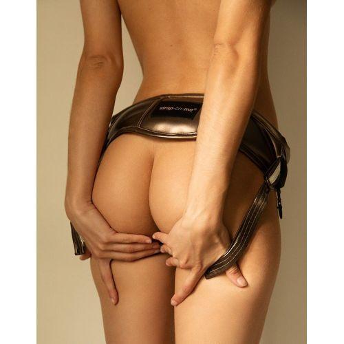 Трусики для страпона черные Strap-On-Me Leatherette HARNESS DESIROUS