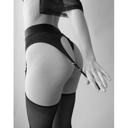 Трусы для страпона с подвязками для чулок черные Strap-On-Me REBEL HARNESS M