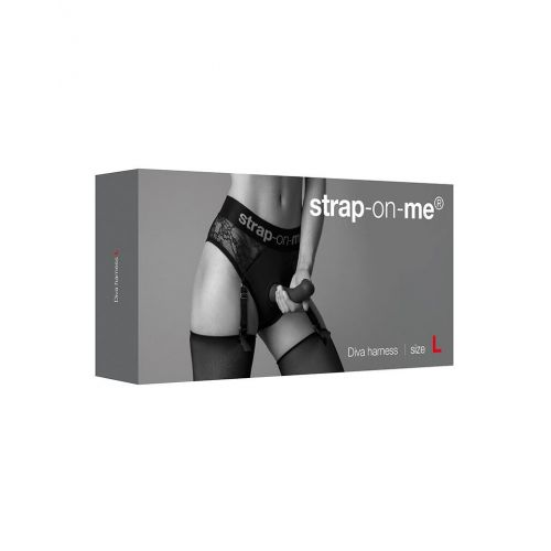 Кружевные трусы для страпона с подвязками для чулок Strap-On-Me DIVA HARNESS размер L
