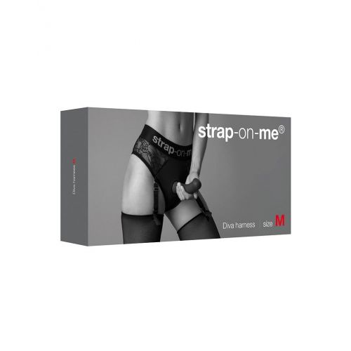 Кружевные трусики для страпона с подвязками для чулок Strap-On-Me DIVA HARNESS размер M