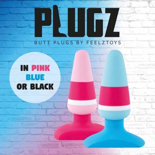 Анальная пробка силиконовая голубая FeelzToys Plugz Butt Plug