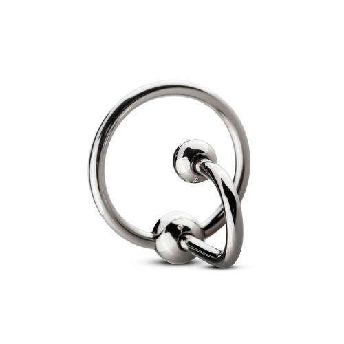 Уретральная вставка с кольцом Sinner Gear Unbendable Sperm Stopper Solid, диаметр кольца 2,6см