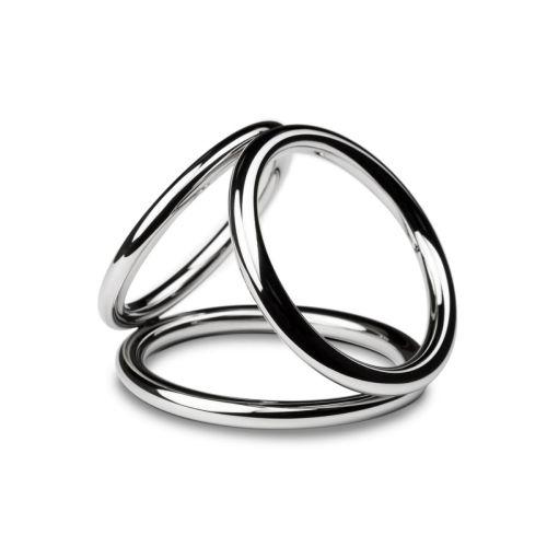 Тройное эрекционное кольцо для фиксации пениса и яичек Sinner Gear Unbendable Triad Chamber Metal Cock and Ball Ring Medium