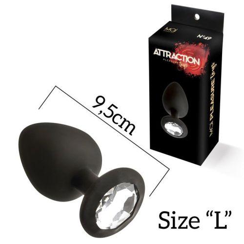 Анальная пробка сликоновая черная с бесцветным кристаллом MAI Attraction Toys длина 11см диаметр 4,5см
