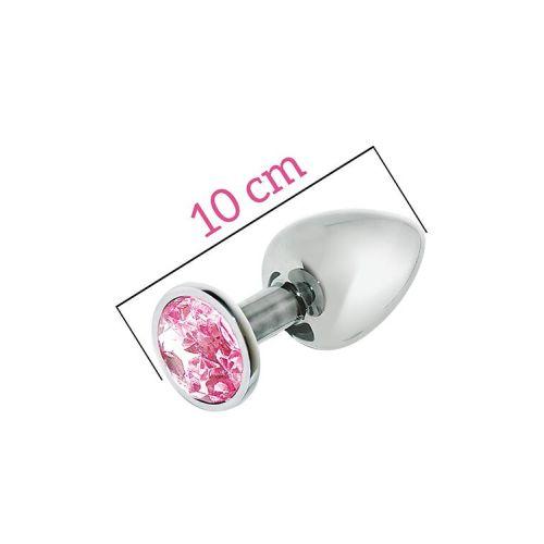 Металлическая анальная пробка себристая с розовым кристаллом MAI Attraction Toys длина 10см диаметр 4см