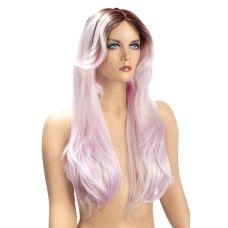 Парик эротический длинные розовые для ролевых игр World Wigs AYA LONG TWO-TONE MAUVE