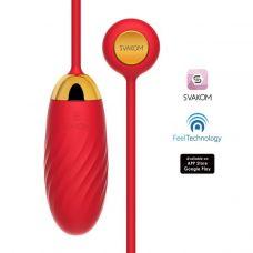 Интерактивное виброяйцо силиконовое красное Svakom Ella Neo