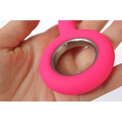 Стимулятор анальный гладкий силиконовый с ручкой-кольцом SWEET TOYS ярко-розовый L 9 см D 4 см