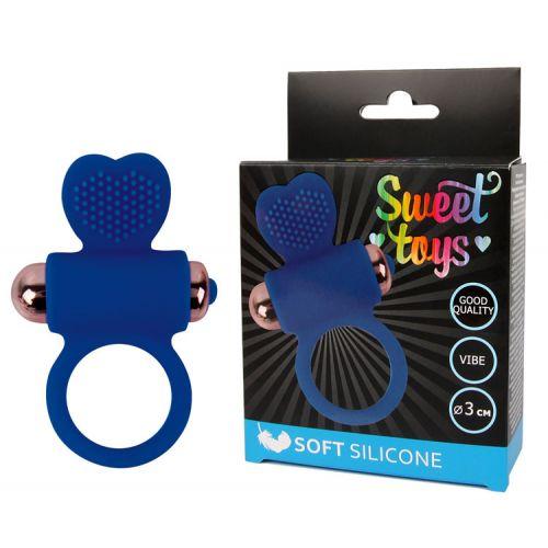 Кольцо эрекционное с вибрацией D 30 мм, цвет синий