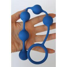 Анальная цепочка силиконовая с ручкой-ограничителем SWEET TOYS синяя L 23 см D 2,6 см