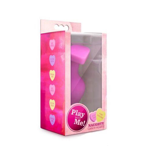Анальный плаг силиконовый розовый PLAY WITH ME CANDY HEART BE MINE