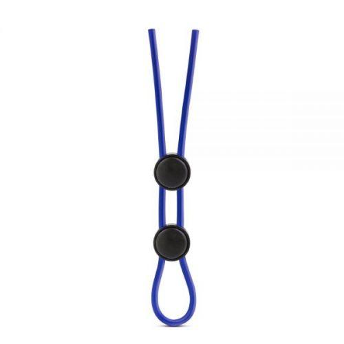 Регулируемое двойное эрекционное лассо для пениса синие силиконовое Blush